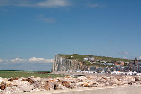 Cliffs and rocky protection waterfront has Mers les Bains, Picardie, Somme, France photo