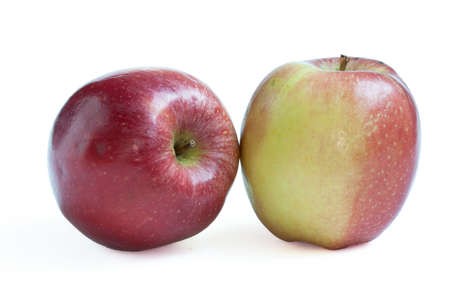 bicolored: Two bi-colored apples on white background Stock Photo