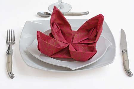 Garnet paper napkin folding flower on white plate stock photo garnet paper napkin folding flower on white plate stock photo picture and royalty free image image 38400214 mightylinksfo