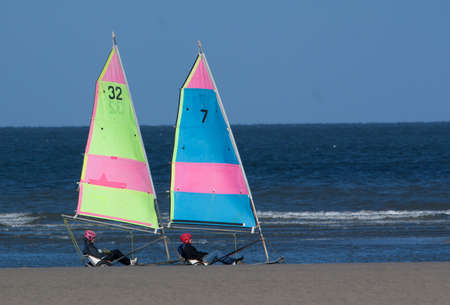 plage: Char sailing in the Somme Bay, Berck Plage, France, North