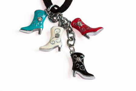 Pendant country boots on white background