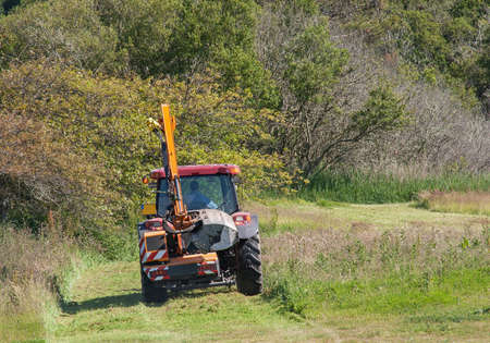grass cutting: Grass cutting mower with self-tractee Stock Photo