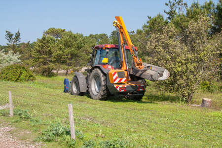 grass cutting: Grass cutting with self-tractee vehicle Stock Photo