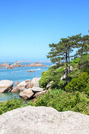 odds: The coast and the beaches has Tregastel, Cotes dArmor, Brittany, France Stock Photo