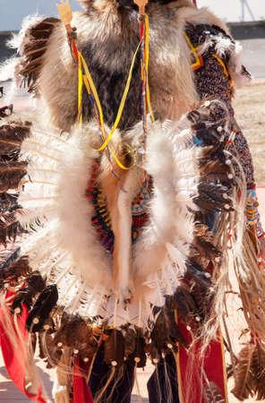 powwow: Back Decorations Indian powwow dancers Stock Photo