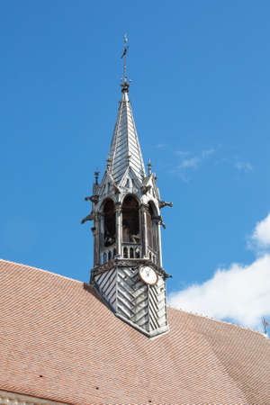 knew: The steeple of the church-collegial Saint Martin Chablis, Yonne, France