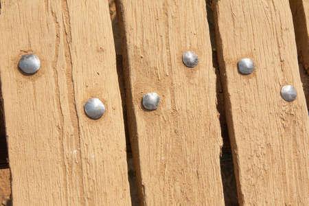 rivets: Rivets on boards Stock Photo