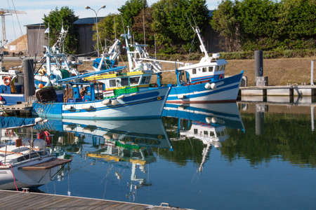 trawler net: Trawlers dock, Le Treport, Somme, Picardy, France