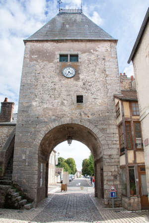cited: Porch of Noyers sur Serein, historical monument, Yonne, Burgundy, France Stock Photo