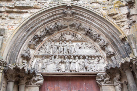 cited: Sculpture of the entrance gate, collegial Notre Dame, Semur en Auxois, Cote dOr, Burgundy, France