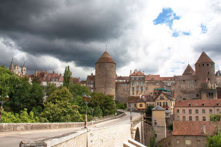 cited: General view under black sky in Semur en Auxois, Cote dOr, Burgundy, France