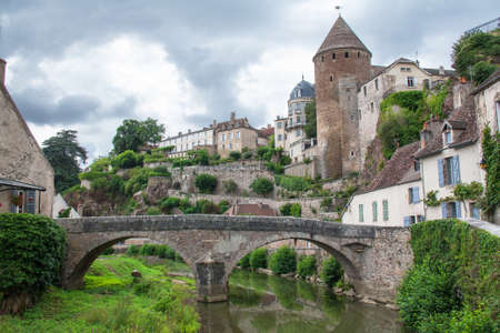 Pinard bridge in Semur en Auxois, Cote d\'Or, Burgundy, France