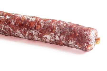 dry sausage: Dry sausage on white background