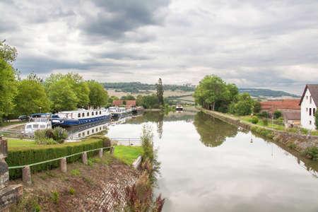 fluvial: The Port of Vandenesse en Auxois, Ctes dOr, Burgundy, under overcast