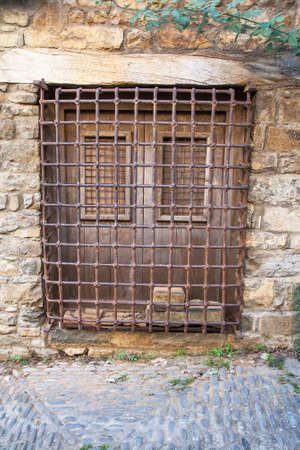 sentenced: Protection gate convicted entree, Ainsa, Aragon, Spain, Europe Stock Photo