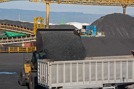 out of production: Coal loading dump truck Stock Photo