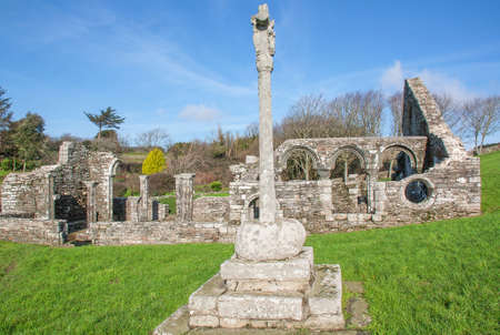 monument historical monument: Ruins of the church Languidou, historical monument, Plovan, Finistere, Brittany