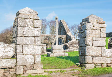 frontage: Ruins of the church Languidou, historical monument, Plovan, Finistere, Brittany