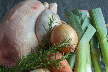 local supply: Boiled chicken and vegetables Stock Photo