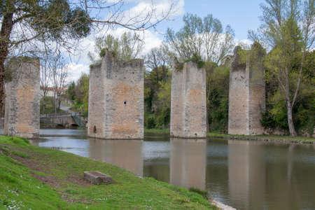 drawbridge: Ruins of the old drawbridge batteries, Lussac les Chateaux, Vienne, Poitou-Charentes Stock Photo