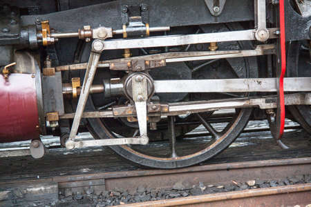 linkage: Wheels and linkage of steam locomotive Stock Photo