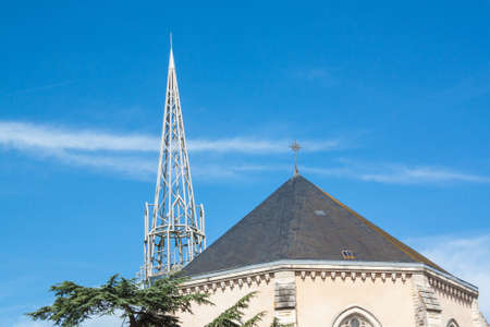 church steeple: Church steeple in Marans with metal beams, Charente Maritime, Poitou Charentes Stock Photo