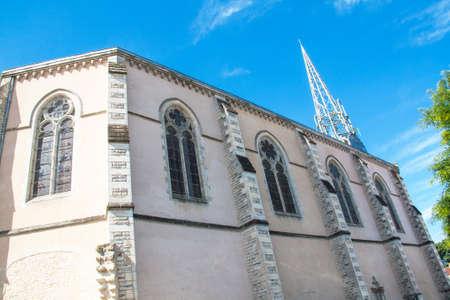 church steeple: Church steeple in Marans with metal beams, Charente Maritime, Poitou Charentes Stock Photo
