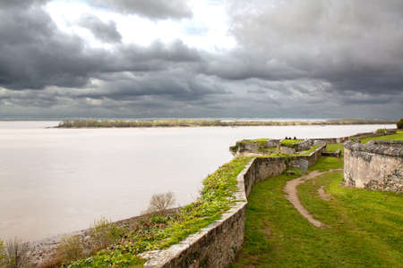 gironde: Blaye. Overcast on the fortress and the Gironde. Aquitaine, France