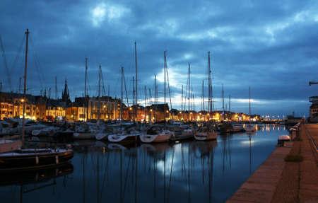 penumbra: At nightfall in the port of Fecamp, Seine Maritime, Normandy