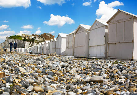 Waterfront Cabins, Criel sur Mer, Normandy, Seine Maritime Stock Photo