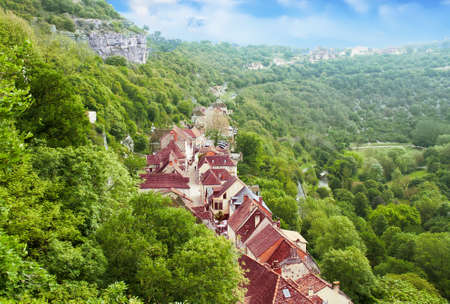 Rocamadour. Panoramic view of the village. Lot. Occitan 版權商用圖片