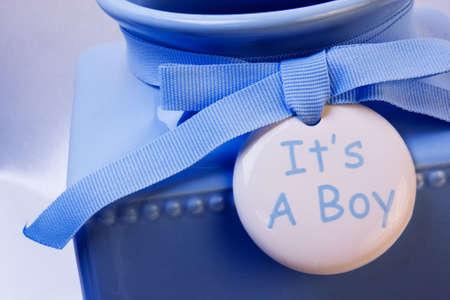 its a boy: Its a Boy, blue vase