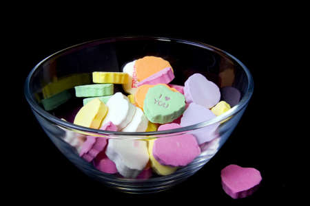 Candy Hearts in Glass Bowl Фото со стока