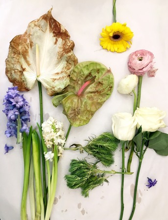 The florist desktop with working tools on wooden background
