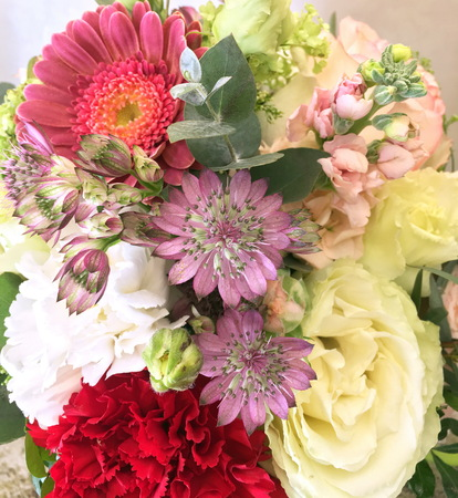 Close-up Beautiful Bouquet. Bouquet of flowers gerbera, Astrantia, white and red carnation. Beautiful bright flowers background. 版權商用圖片