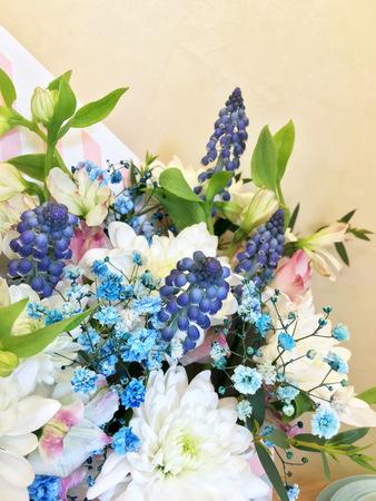 Composition with Colorful flowers. Flowers blue muskari, white chrysanthemum, alstroemeria and blue gypsophila. 版權商用圖片