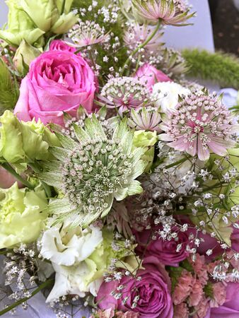 Bouquet of mixed colorful flowers. Flowers bouquet including pink roses, astrantia, white and green flowers. Beautiful bright flowers background.