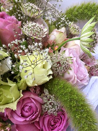 Close-up Beautiful Bouquet. Bouquet of flowers pink roses, astrantia, white and green flowers. Beautiful bright flowers background.