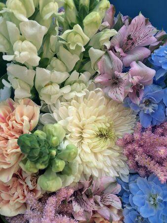 Bouquet in blue tones flowers. Flowers bouquet including blue delphinium, dianthus apple tea, white chrysanthemum and pink astilbe. Beautiful gentle flowers background.