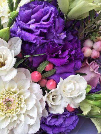 Beautiful flowers background. Pink dahlia, white alstroemeria and blue flowers. Фото со стока