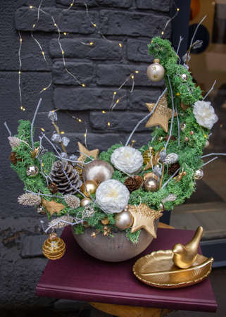 Cristmas tree alternativ. Made of moss. Decoration for the New Year holidays. Christmas and New Year background.