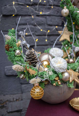 Cristmas tree alternativ. Made of moss. Decoration for the New Year holidays. Christmas and New Year background. Stock fotó