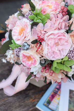 Beautiful flower box. Magic flowers box. Preserved flower in box. Roses, peonies and Hydrangea.