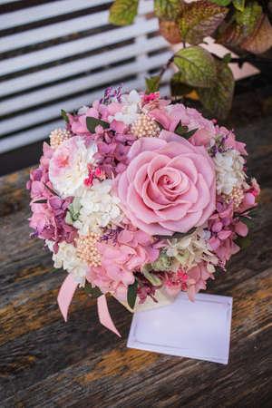Rosesand Hydrangea. Beautiful flower box. Magic flowers box. space for text