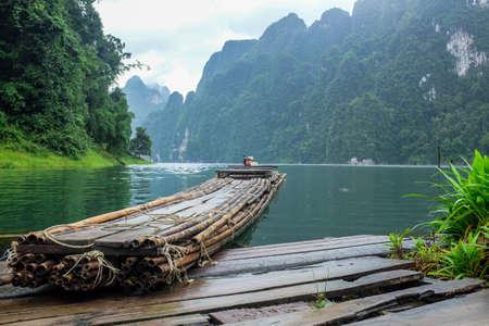 raft: Raft in the big dam. Stock Photo