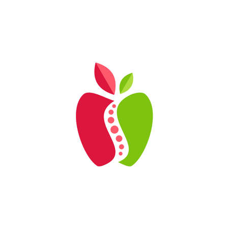 red green apple fruit symbol icon vector design illustration