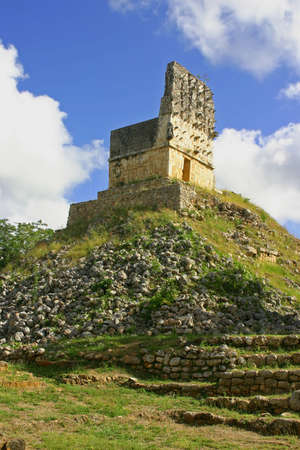 Ruins of maya in mexican Labna over blue sky Stock Photo