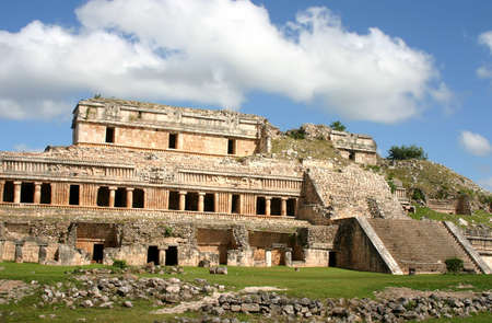 Mexican ruins of maya civilization over blue sky Stock Photo