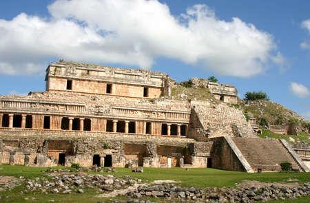 civilizations: Mexican ruins of maya civilization over blue sky Stock Photo