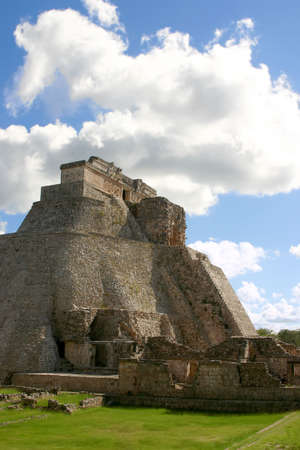 Main round pyramid on mayan site over sky Stock Photo